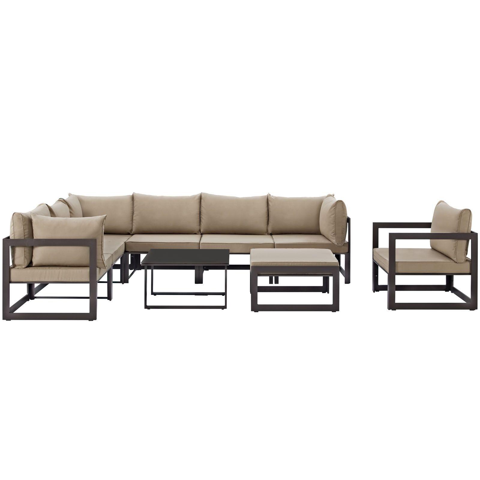 Fortuna 9 Piece Outdoor Patio Sectional Sofa Set