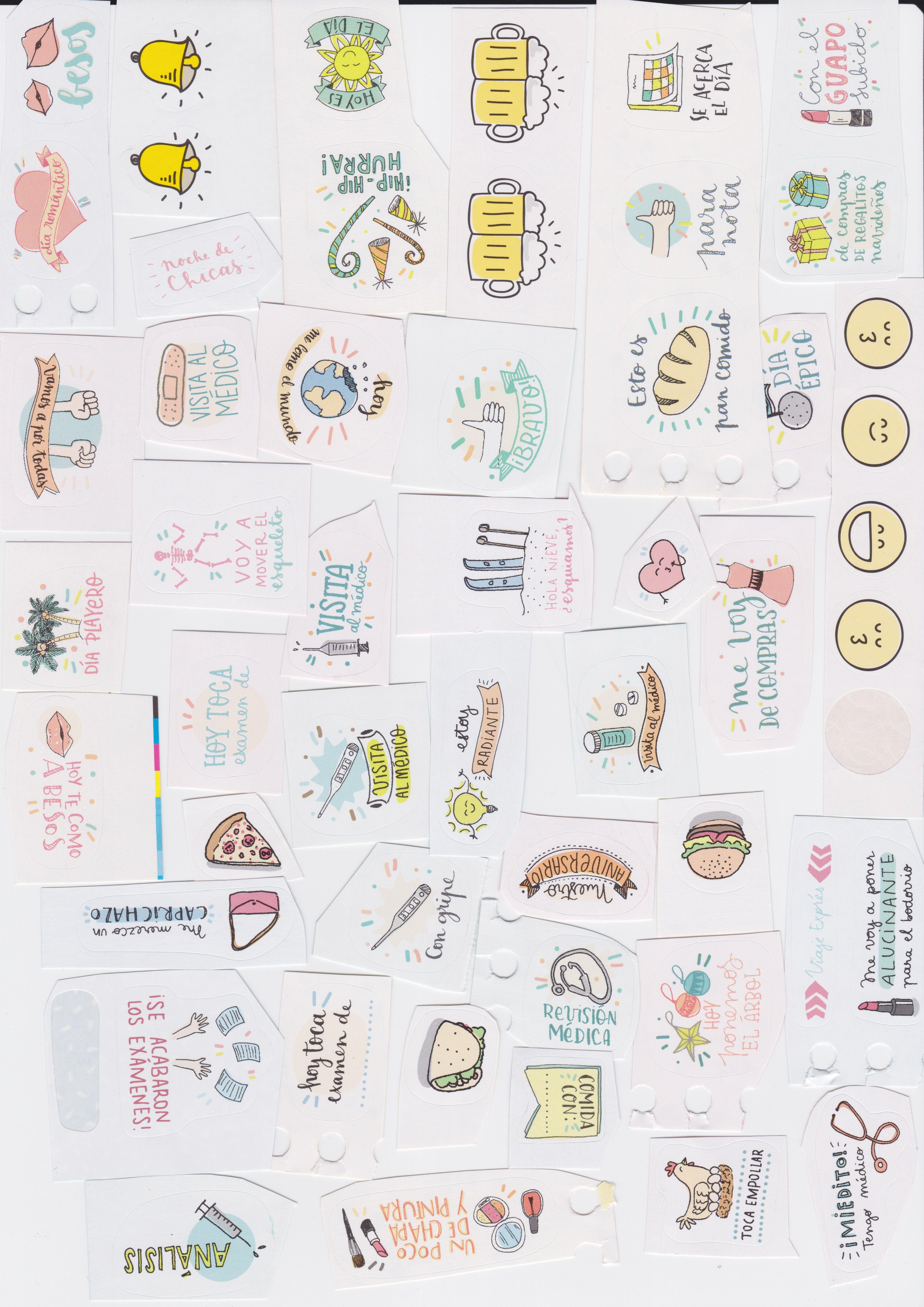 Pegatinas de varias agendas de MrWonderful para imprimir en papel