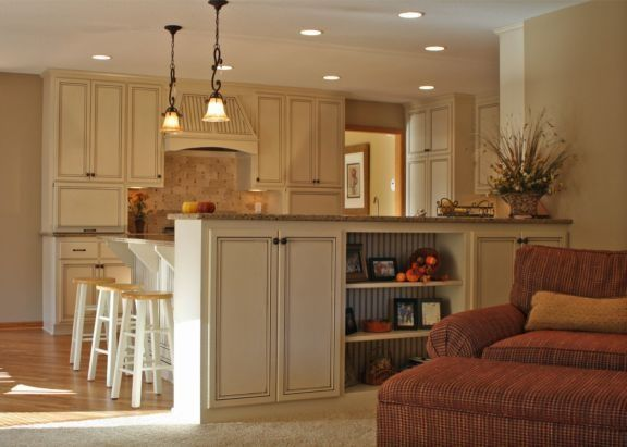 Island Half Wall To Partition Kitchen From Family Room Kitchen