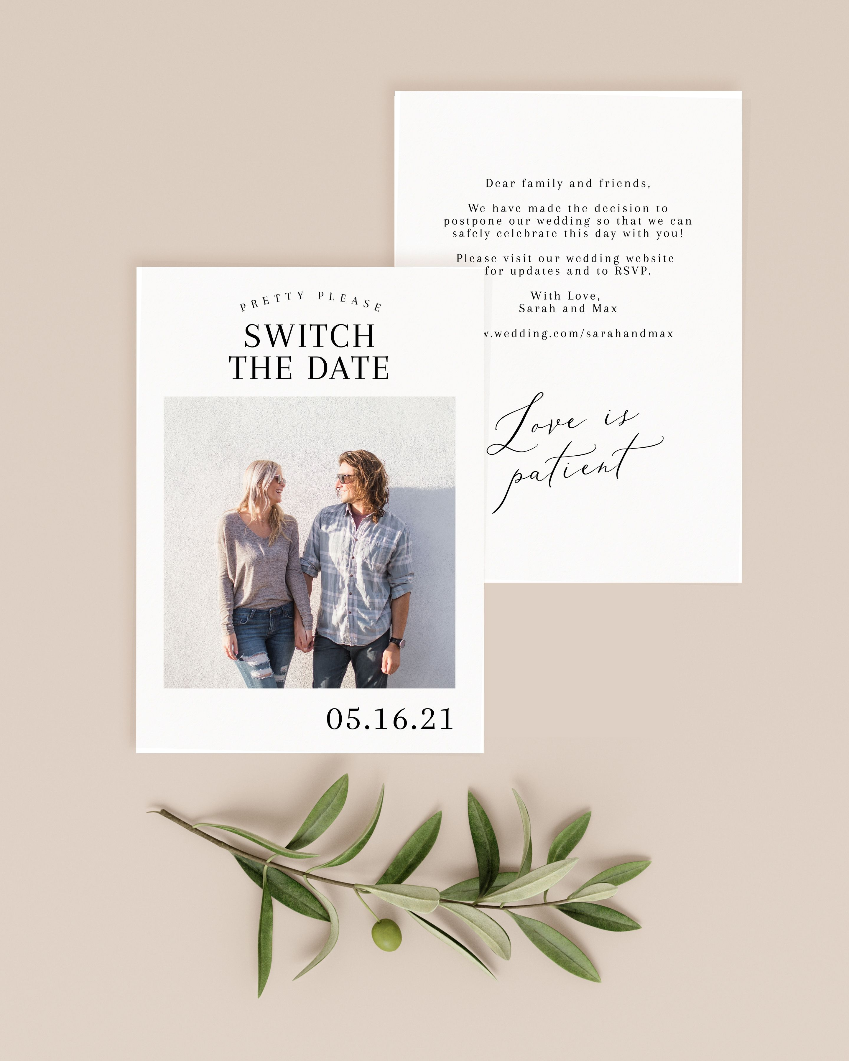 Switch the Date Postponed Wedding Announcement, Change the