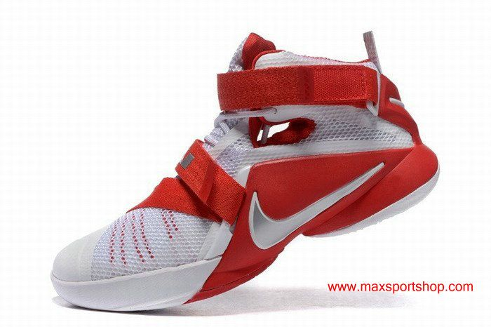 half off 4f483 e1bb5 Nike Zoom LeBron Soldier 9 White Red Basketball Shoes
