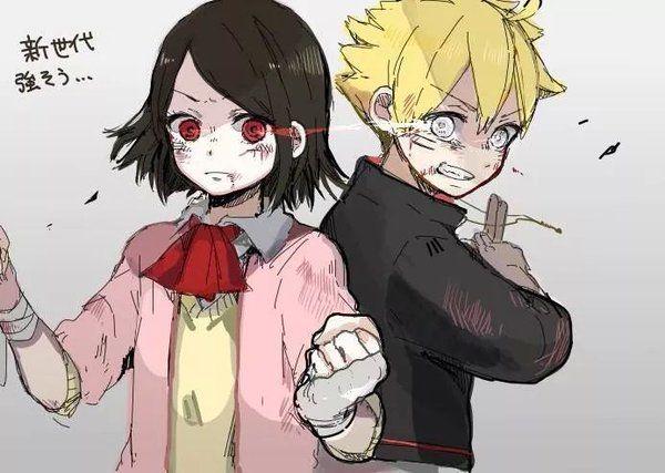 """Naruto Tuits sur Twitter : """"Les gustaría esto? Boruto con Byakugan y Sarada con Sharingan. http://t.co/ukosmUvn0b"""""""