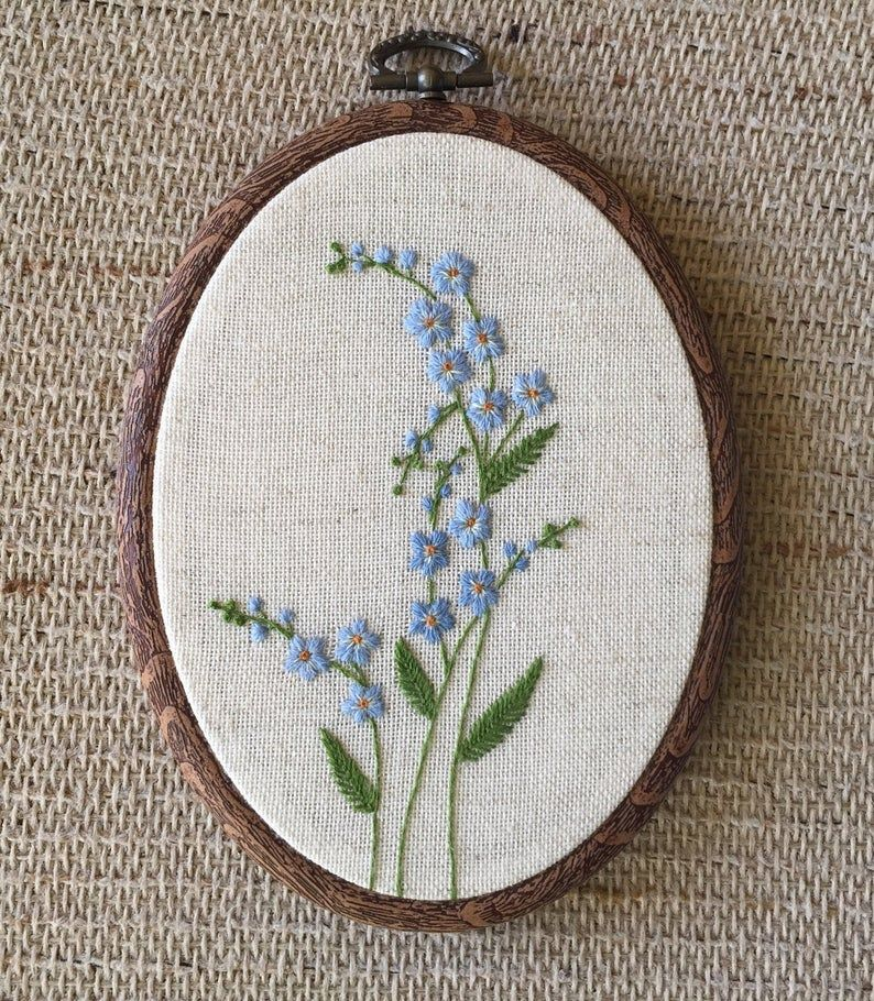 Blue forget me not flowers embroidery hoop art, Fl