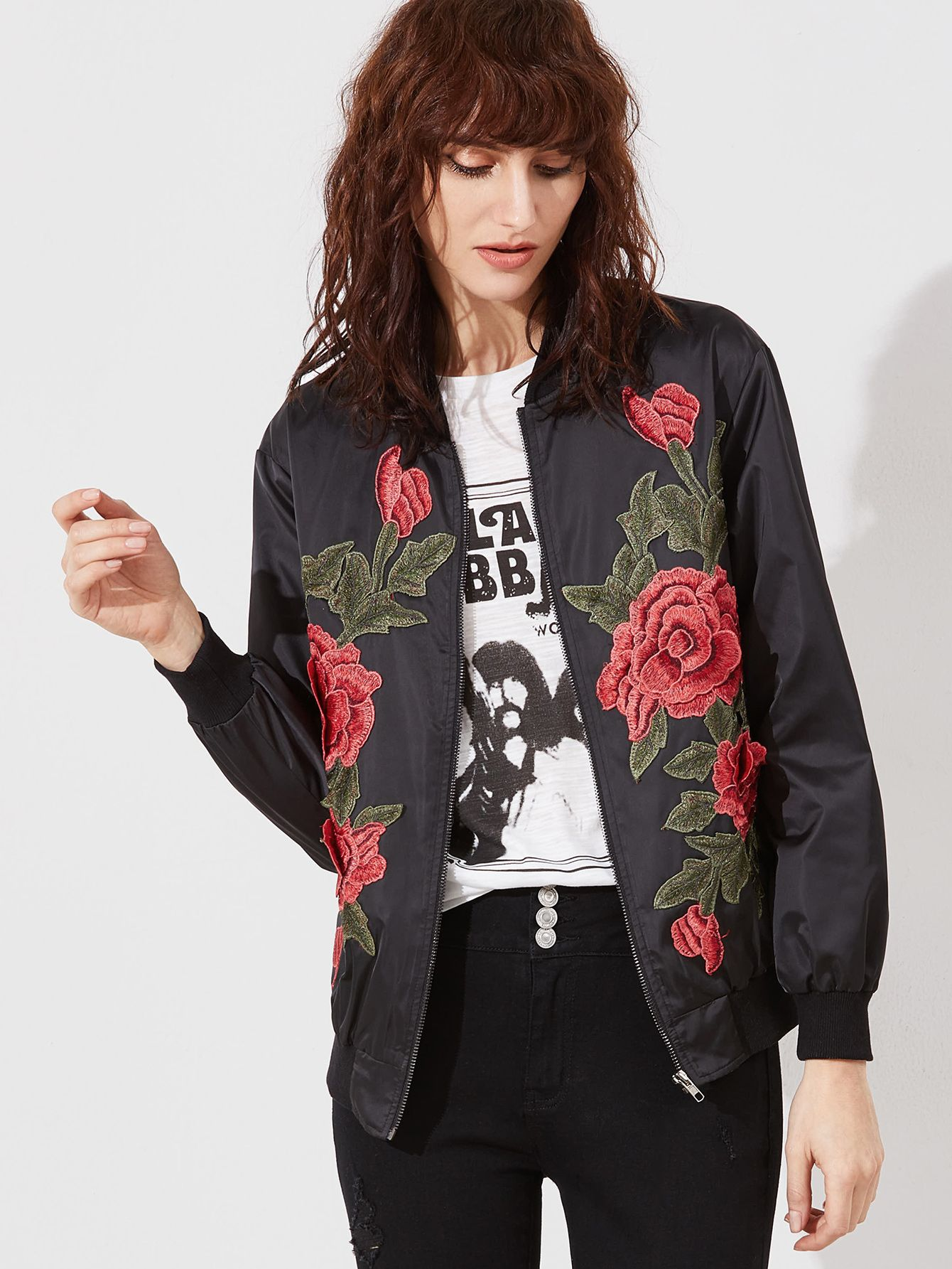 really comfortable quality and quantity assured offer Rose Embroidered Bomber Jacket BLACK | MakeMeChic.COM ...