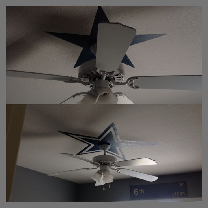 I did this for my sons room a dallas cowboys star above the ceiling i did this for my sons room a dallas cowboys star above the ceiling fan as aloadofball