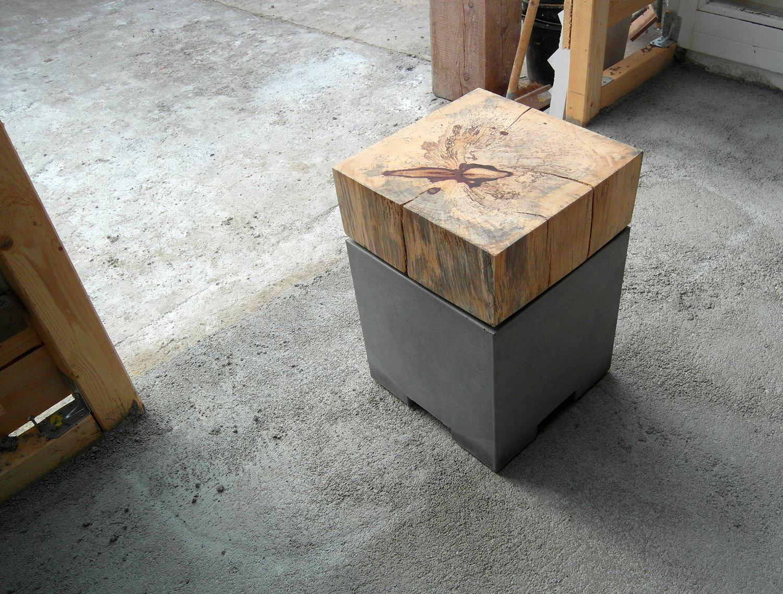 Outdoor Hocker betonmöbel hocker holz tamarinde outdoor wood furniture beton
