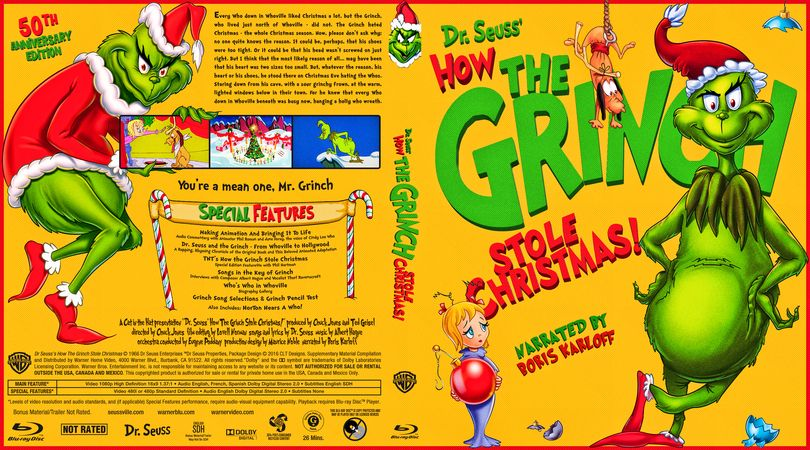 How The Grinch Stole Christmas Book Cover.How The Grinch Stole Christmas Blu Ray Custom Cover Print