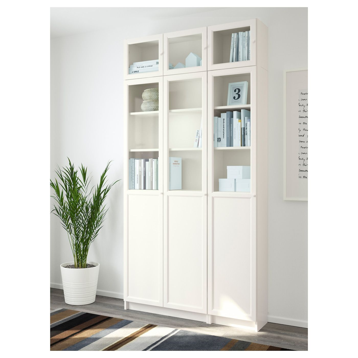 Billy Oxberg Bookcase White Glass 47 1 4x11 3 4x93 1 4