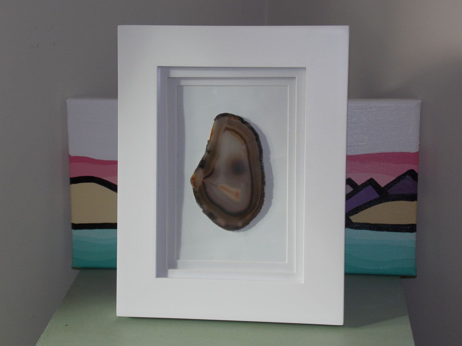 Framed Agate Slice 5x7 Framed Agate Slice Geode Art Agate Slice
