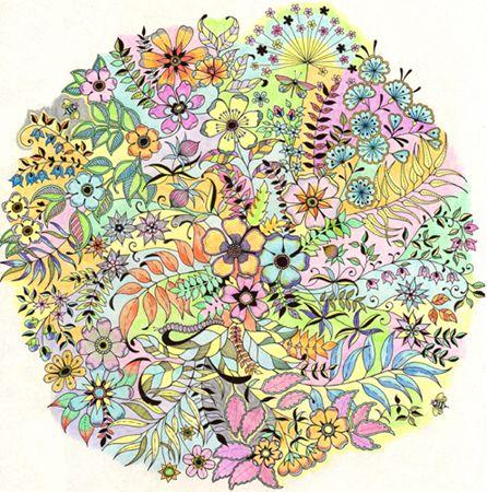 Michelle Casey S Finished Secret Garden Page Faber Castell Art Grip Col Secret Garden Coloring Book Gardens Coloring Book Secret Garden Coloring Book Finished