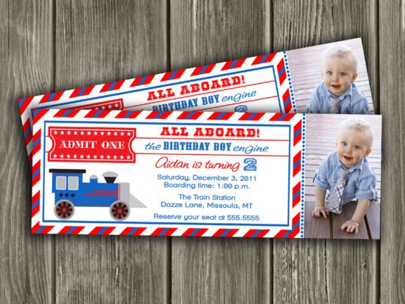 Train Ticket Invitation Thank You Card Included Birthday
