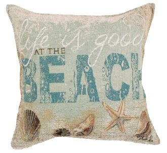 Decorative Pillows Beach Theme : A decorative pair of inspirational Life Is Good at the Beach throw pillows! Perfect for you ...