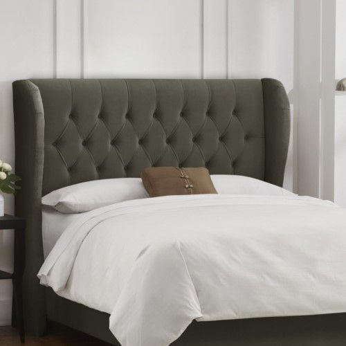 Tufted Wingback Velvet Upholstered Headboard Velvet Pewter Products