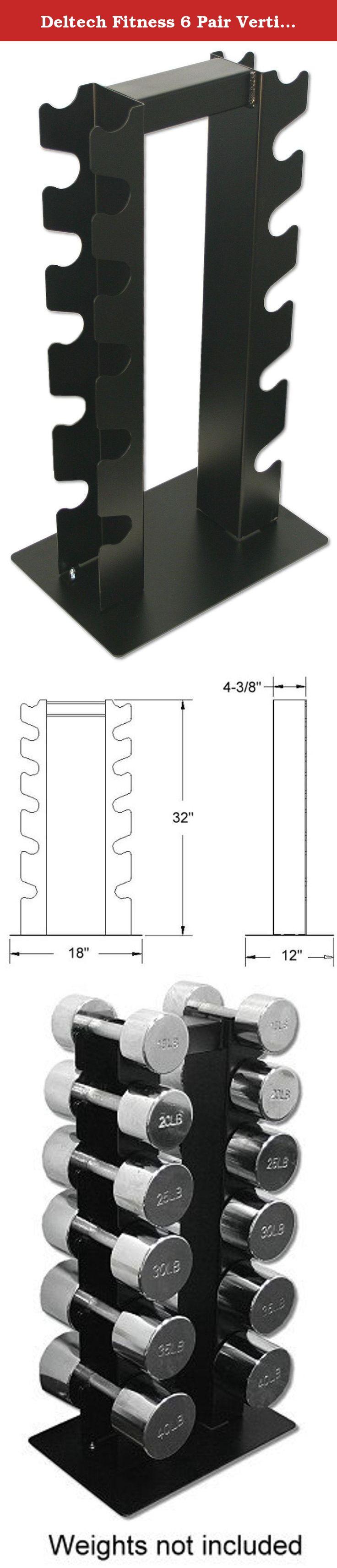Deltech fitness 6 pair vertical dumbbell rack the df5100