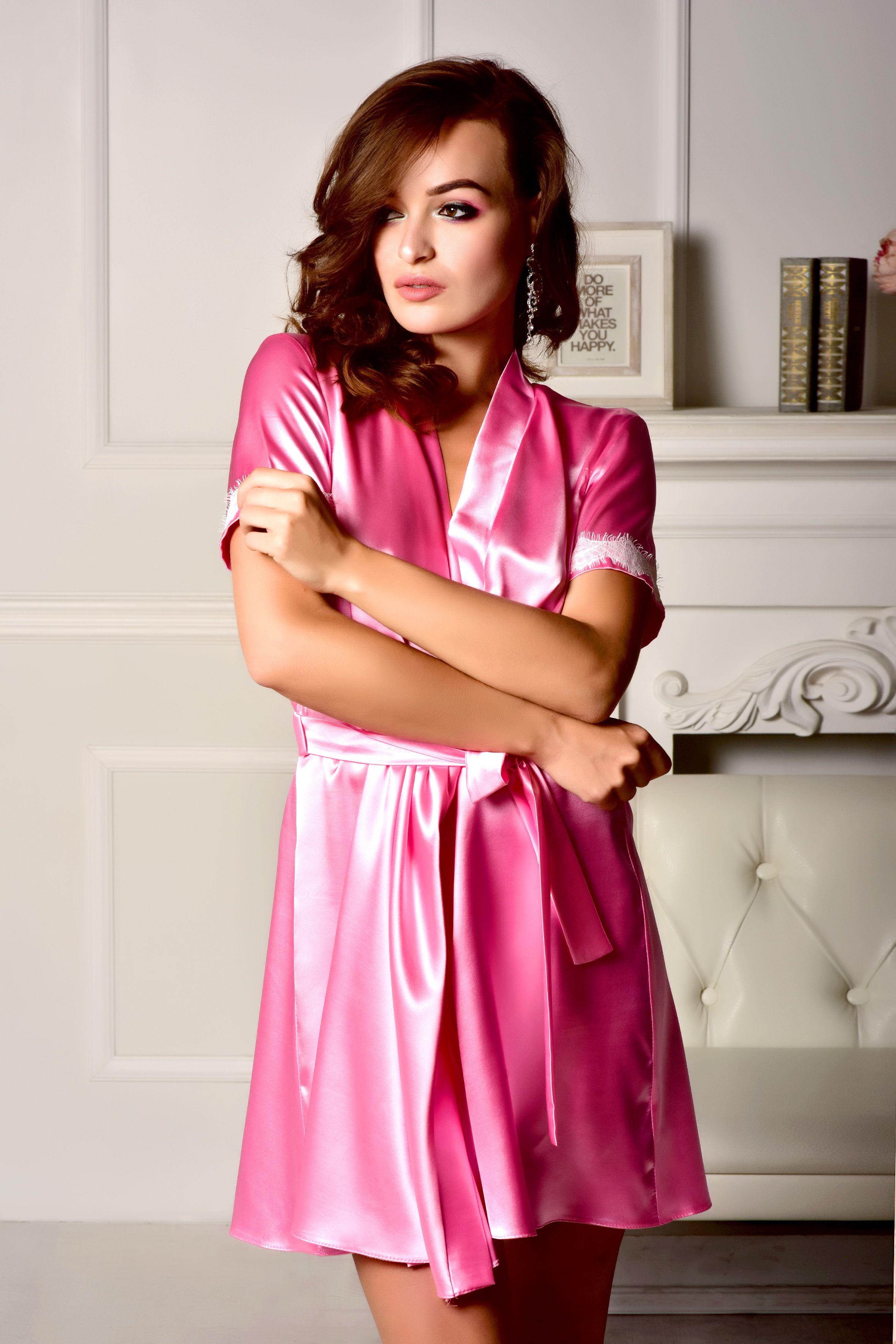 Pink robe Kimono robe Bridesmaid robe Lace robe Short sleeve robe ...