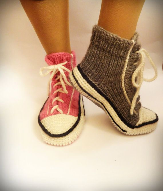 Pink Knitted Converse Knitted Slippers Woman By Crazybutterflies