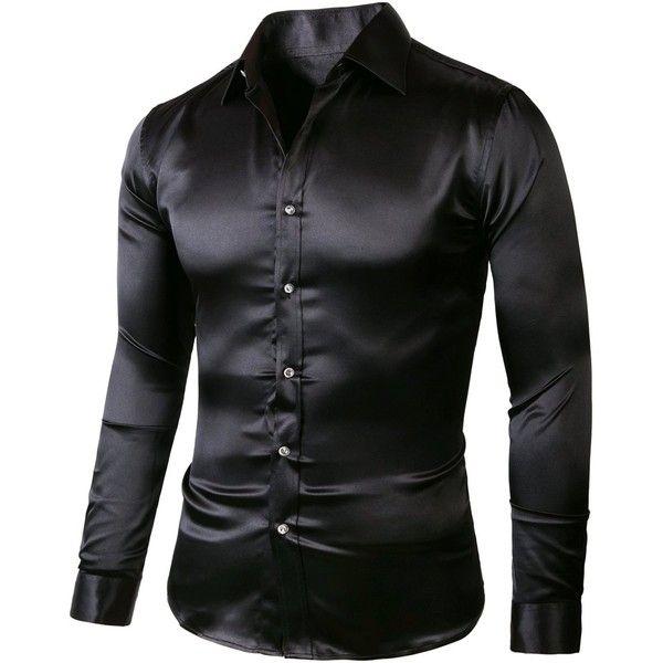 SA01200 Slim190 Black ZERDSKY Men's Slim Fit Satin Shiny