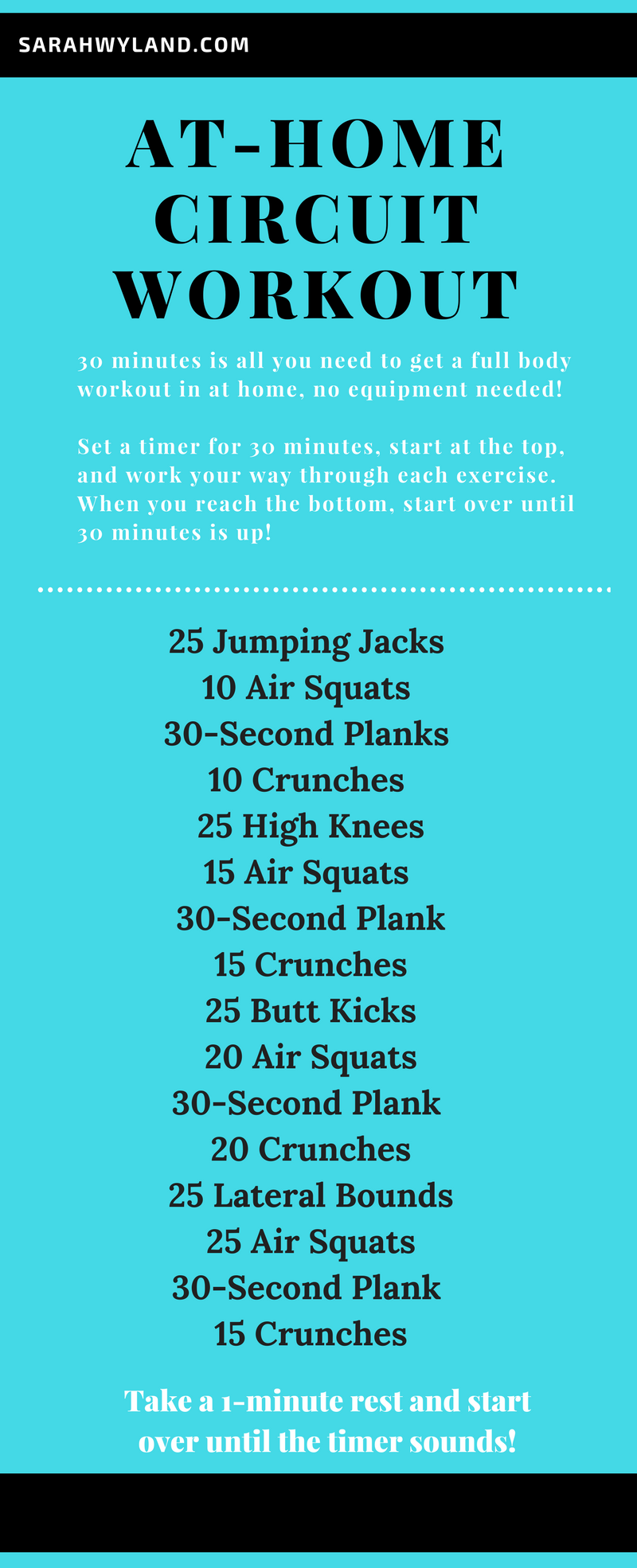 At Home 30 Minute Circuit Workout No Equipment Needed Sarah Wyland Workout Circuit At Home Circuit Workout Hiit Workout At Home