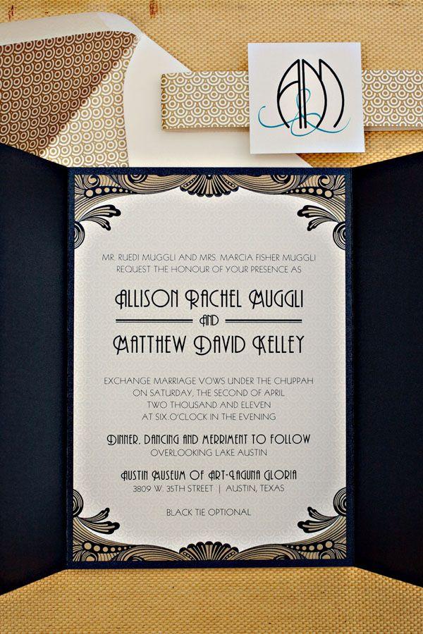 Art Deco Texas Wedding   Art deco invitations, Art deco and 1930s ...
