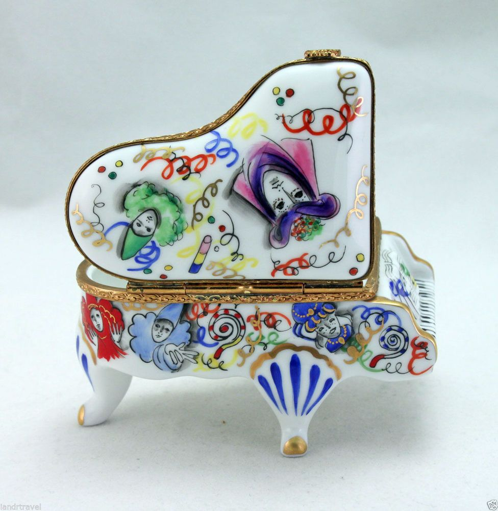 CARNIVAL OF VENICE NEW FRENCH LIMOGES BOX COLORFUL GRAND PIANO MASQUERADE MASK Limogeshingedbox