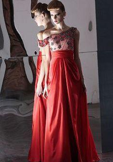 Sleeveless One Shoulder Chiffon Empire Floor Length A line Evening Gowns at Angelweddingdress