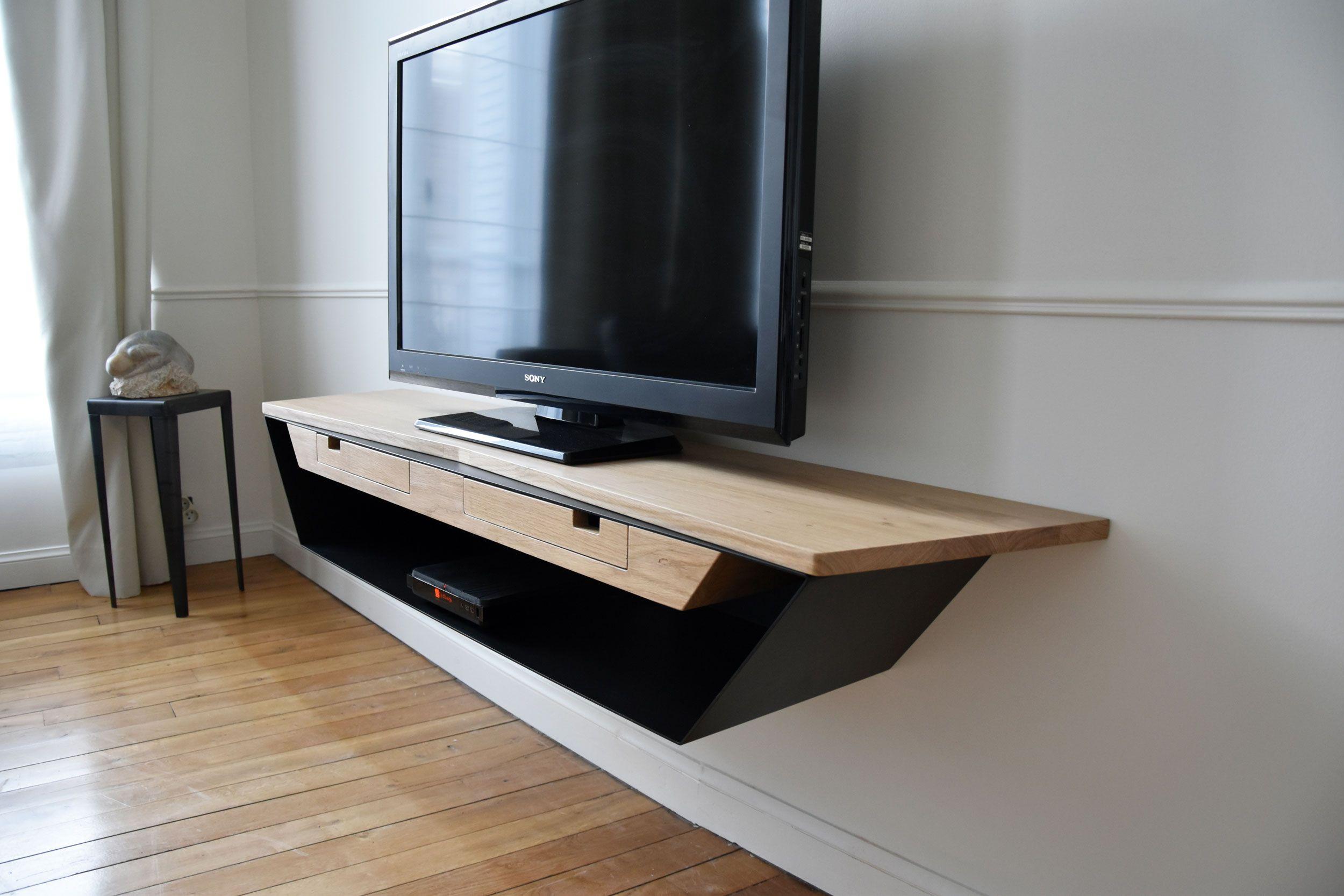 Meuble Tv Chene Blanc Contemporain Meuble Tele Design Meuble Tv