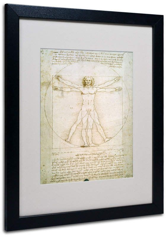 Leonardo Da Vinci The Proportions Of The Human Figure Matted Framed Art 20 X 16 Da Vinci Painting Vitruvian Man Posters Art Prints