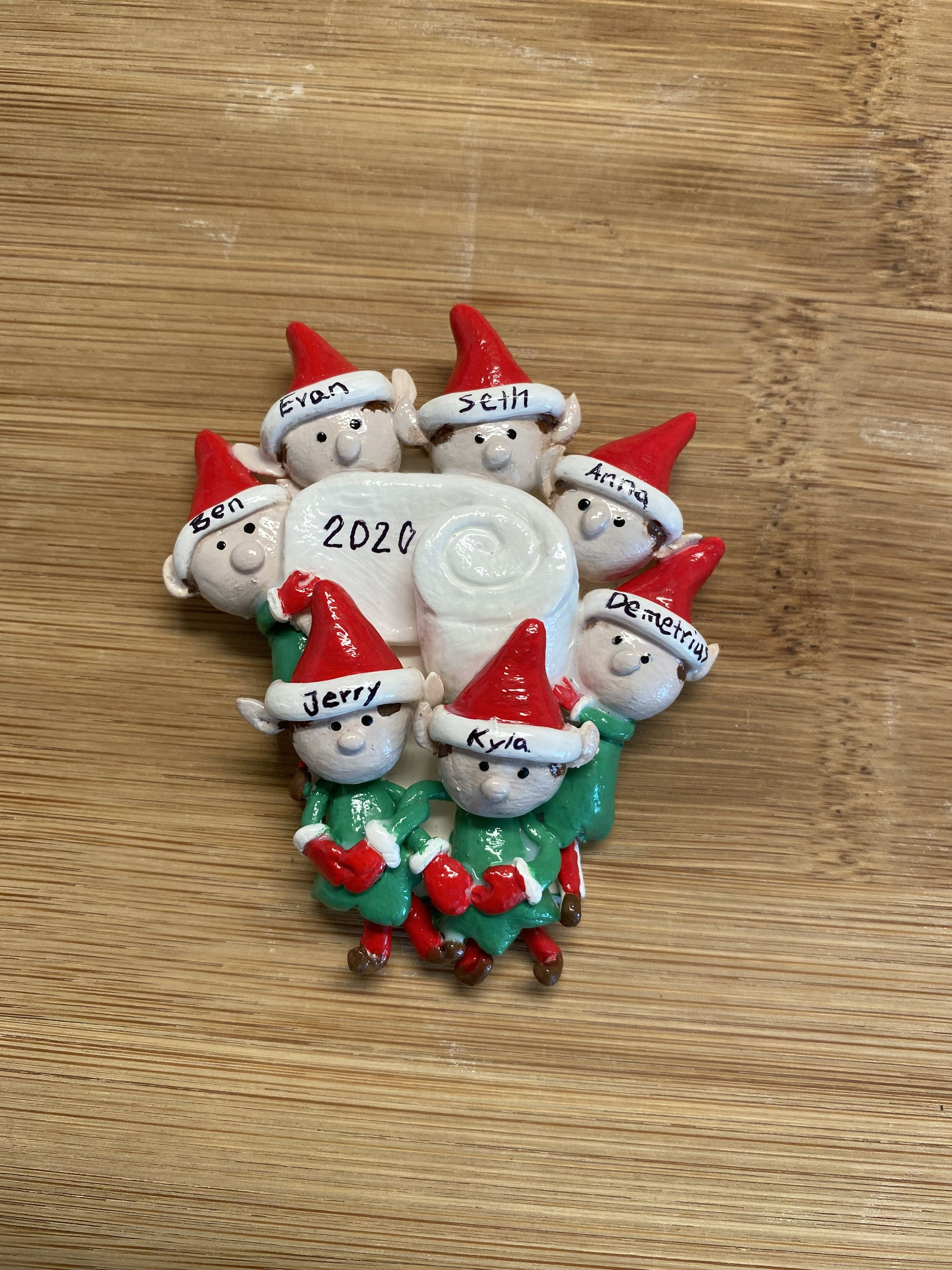 Custom Family Of Elves With Pet 2020 Handmade Hand Painted Etsy Paper Ornaments Elf Ornaments Handmade