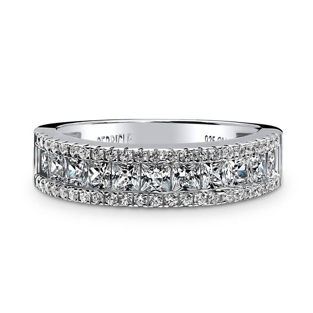 Round Prong Set Cubic Zirconia Channel Set Bridal Ring Rhodium Plated Sterling Silver