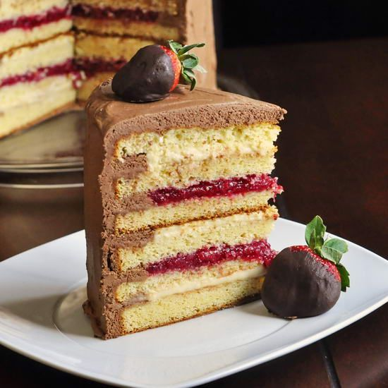 Neopolitan Cake With Chocolate Ganache