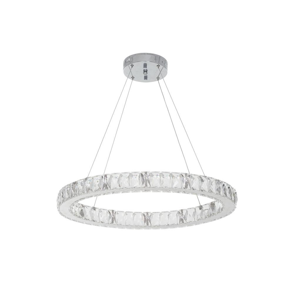 Home Decorators Collection 24 In Chrome Integrated Led Pendant With Clear Crystals 20748 001 Chrome Pendant Lighting Chrome Glass Diffuser