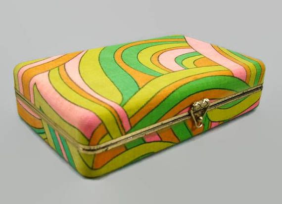 Mod Fabric Jewelry Box Psychedelic Print Green Yellow Pink Vintage