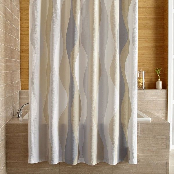 Crate Barrel Italian Seersucker Neutral Shower Curtain 1 980 UAH Liked On Polyvore Featuring Home Bed Bath Curtains And
