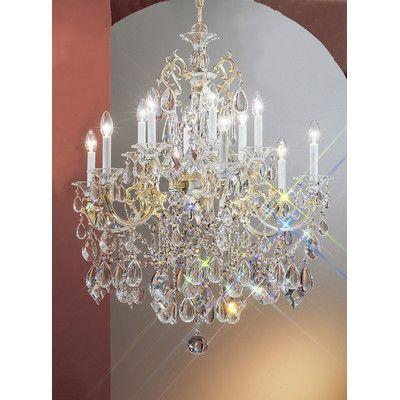 Classic lighting via venteo 12 light crystal chandelier finish classic lighting via venteo 12 light crystal chandelier finish roman bronze crystal type crystalique aloadofball Gallery