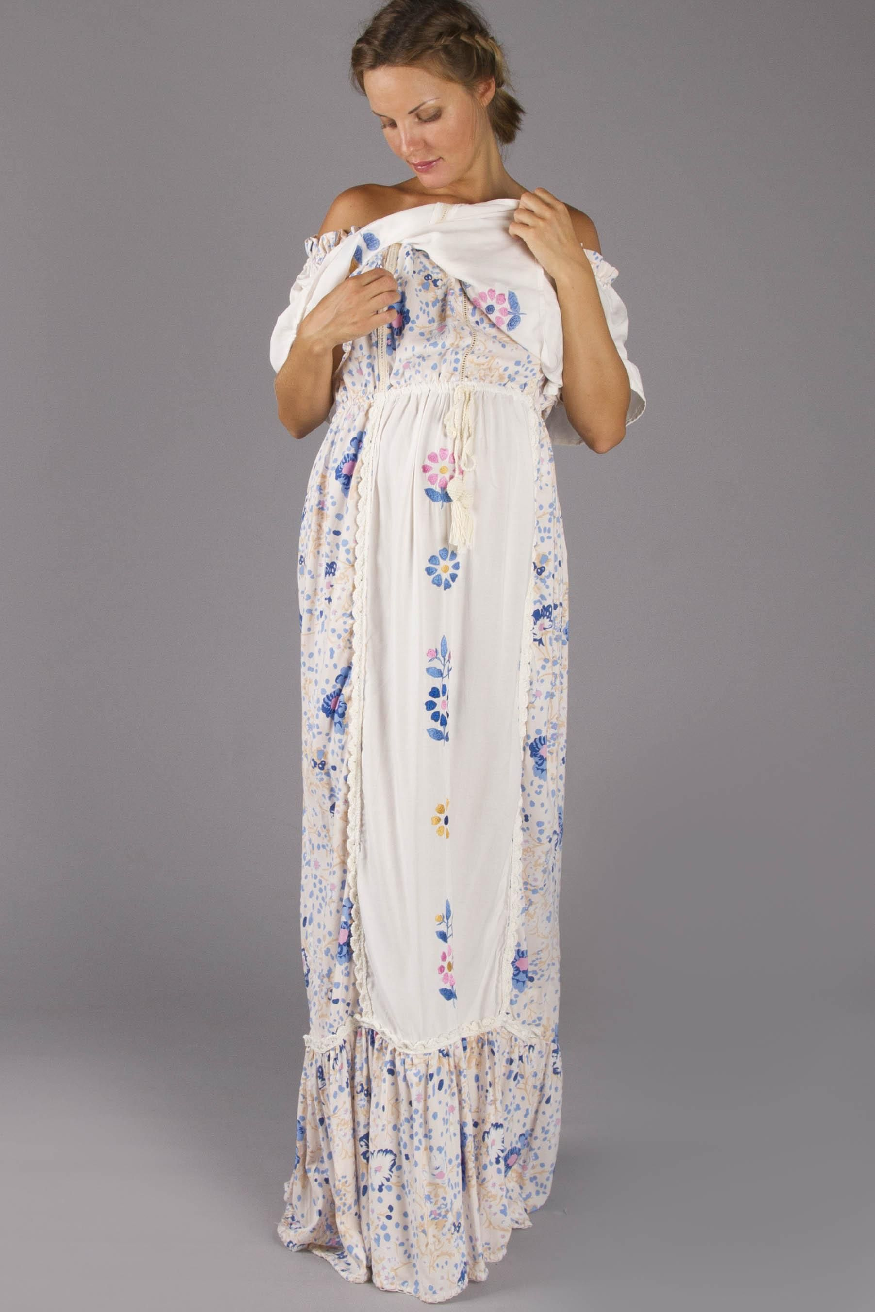 Seeker lover keeper nursing dress embroidered nursing maxi dress double layer nursing dress with hand embroidery and crochet details ombrellifo Images