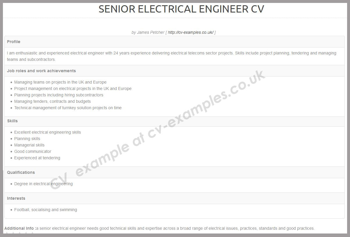 Cv Example For A Senior Electrical Engineer Posting Cv