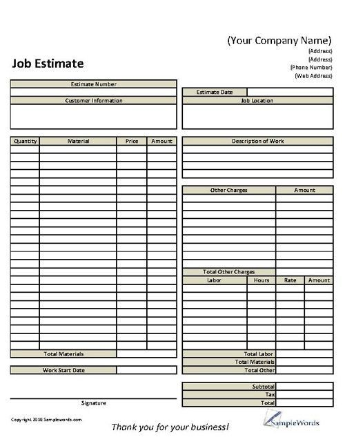 Basic Job Estimate Form 4Construction Pinterest Pressure
