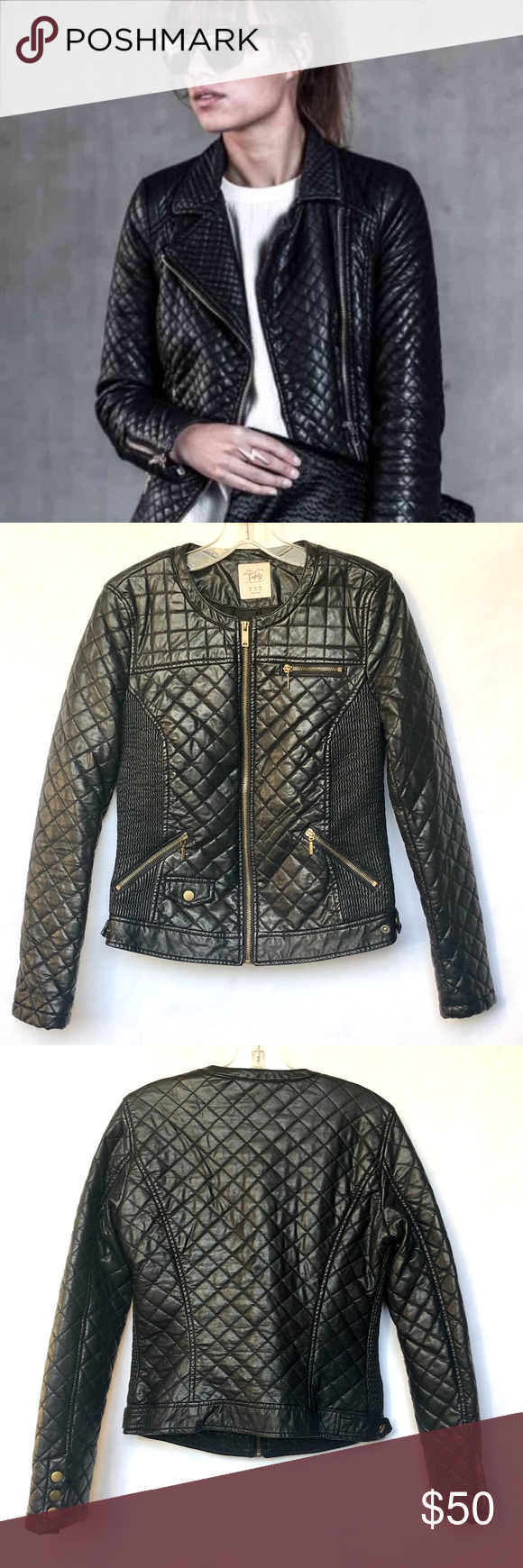 Zara Black Quilted Faux Leather Moto Jacket M Leather