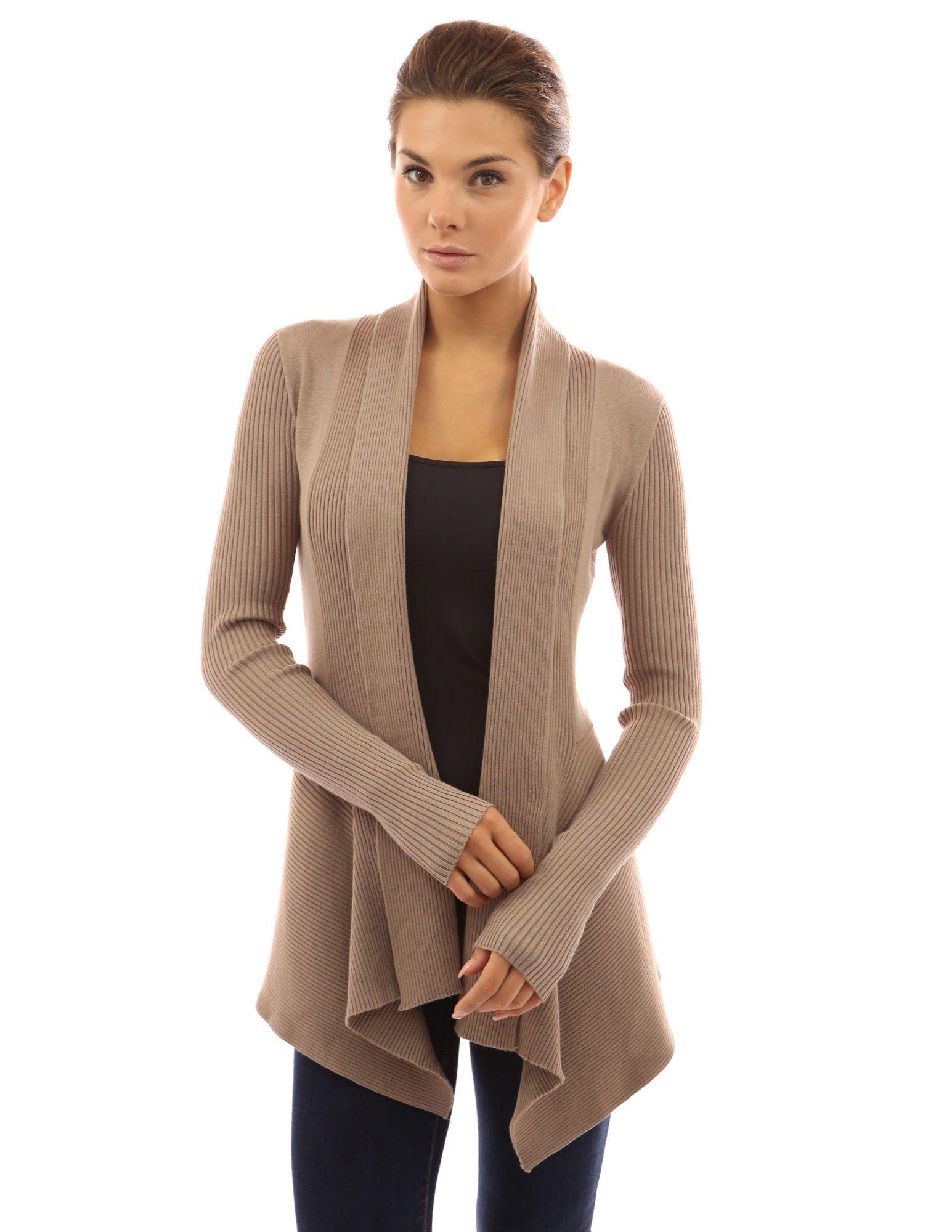 Patty Women s Boutik Ribbed Long Sleeve Cascading Asymmetric Hem Open  Sweater d930eec00