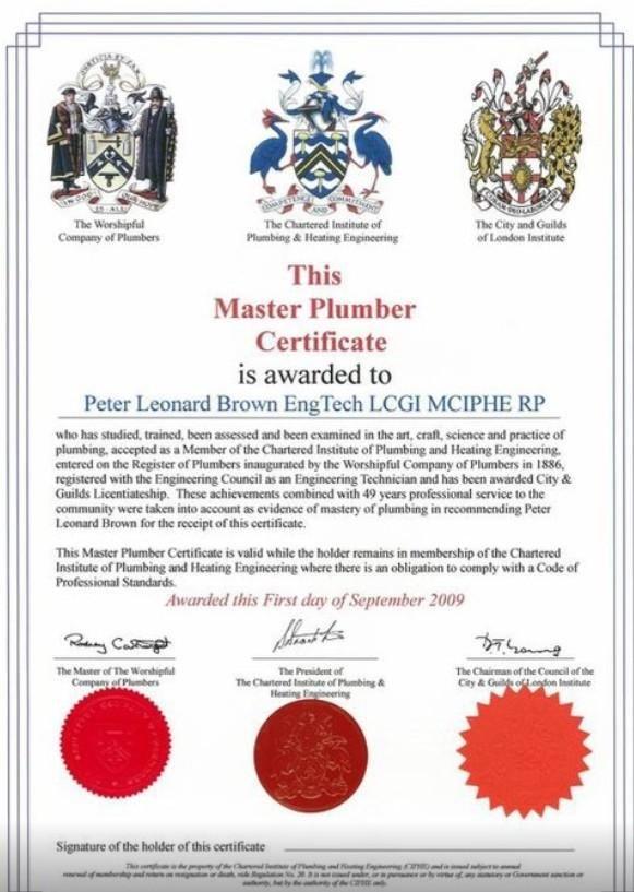 Master Plumber Certificate Plumber Workforce Development Arts And Crafts