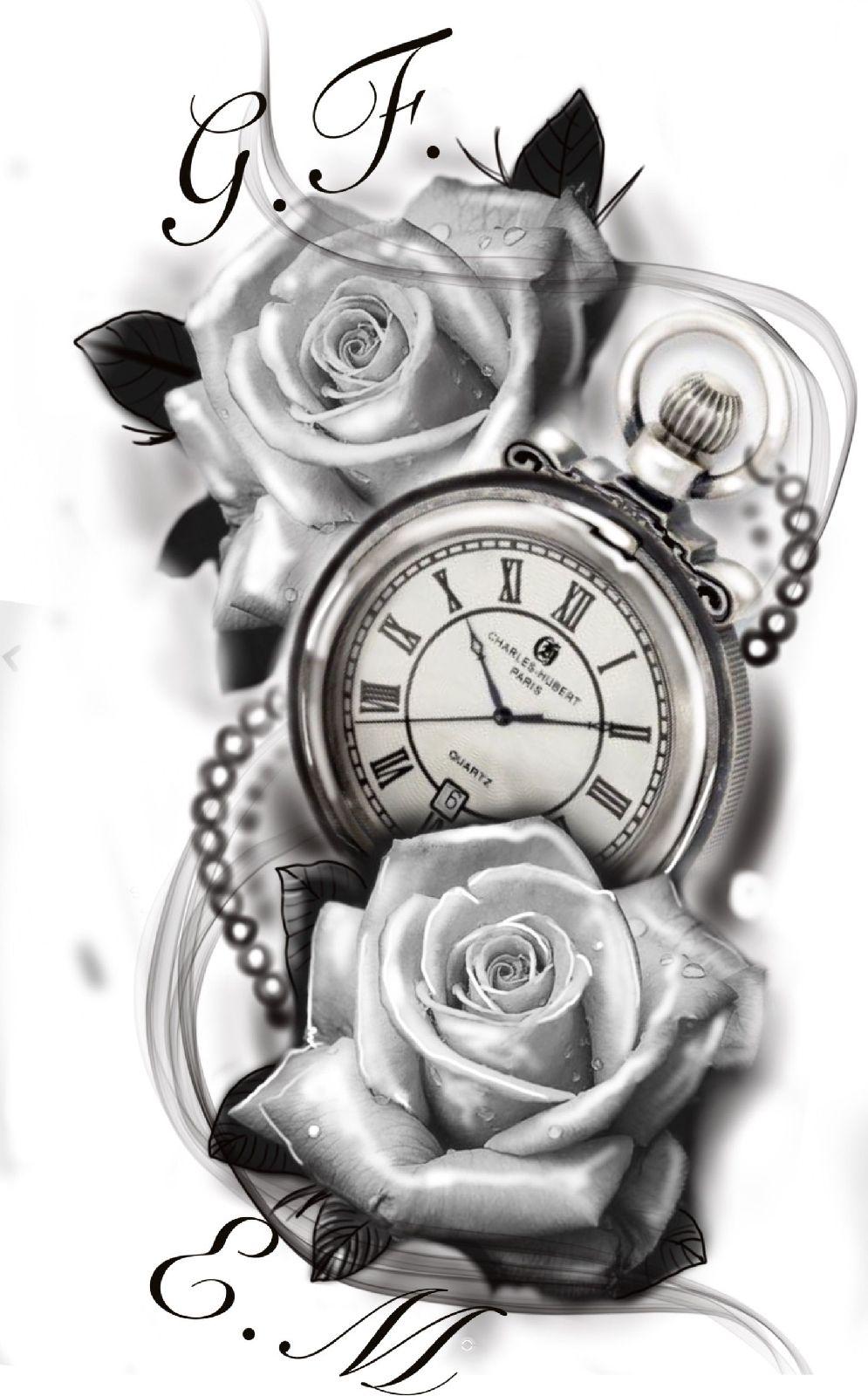 24 Tatuajes de rosas con reloj