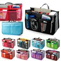Practical Handbag Purse Nylon Dual Organizer Insert Cosmetic Storage Bag   Multiple pockets to class