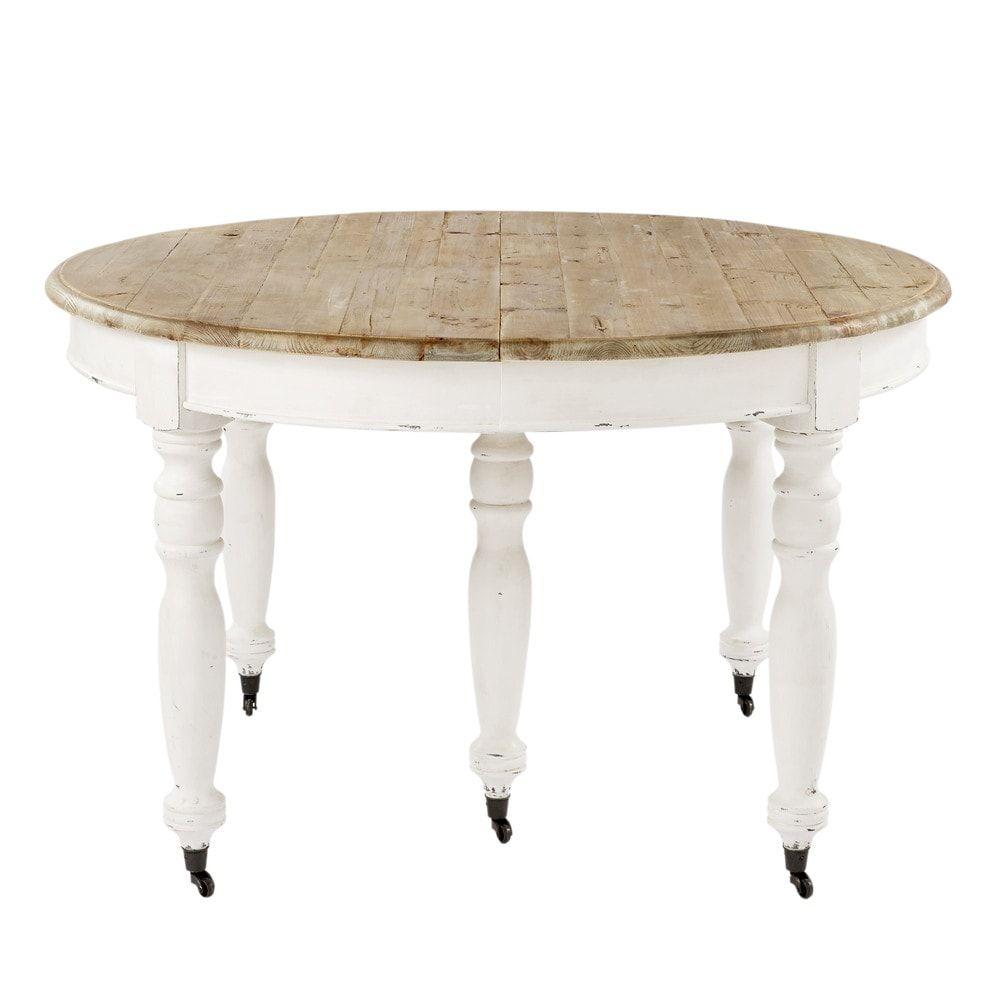 Tavolo Tondo Maison Du Monde.Extendible 6 14 Seater Dining Table On Castors L 125 325 In