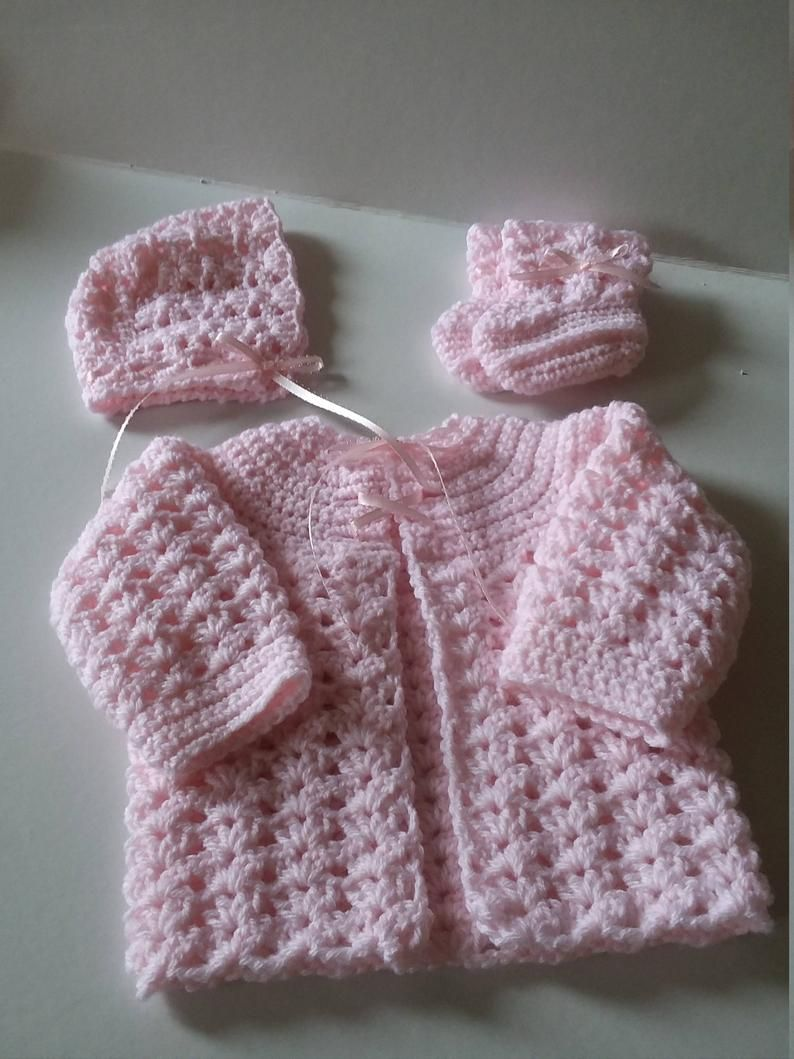 Baby Sweater Set, Crocheted Sweater Set, Infant Sweater Set, Newborn Sweater Set, Baby Shower Gift, Pink Sweater Set, Sweater Set, Sweater