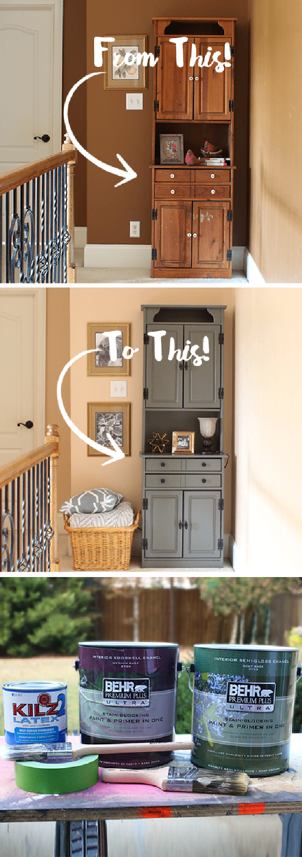 Go from outdated and dark to light and modern with this easy DIY pine hutch makeover from Joy, of Joy's Life. Joy painted her old wooden cabinet a neutral shade of Mined Coal. This dark charcoal gray color looks great when paired with chic gold accents. Joy also used a fresh coat of Pumpkin Cream to make her hallway look larger and more open.