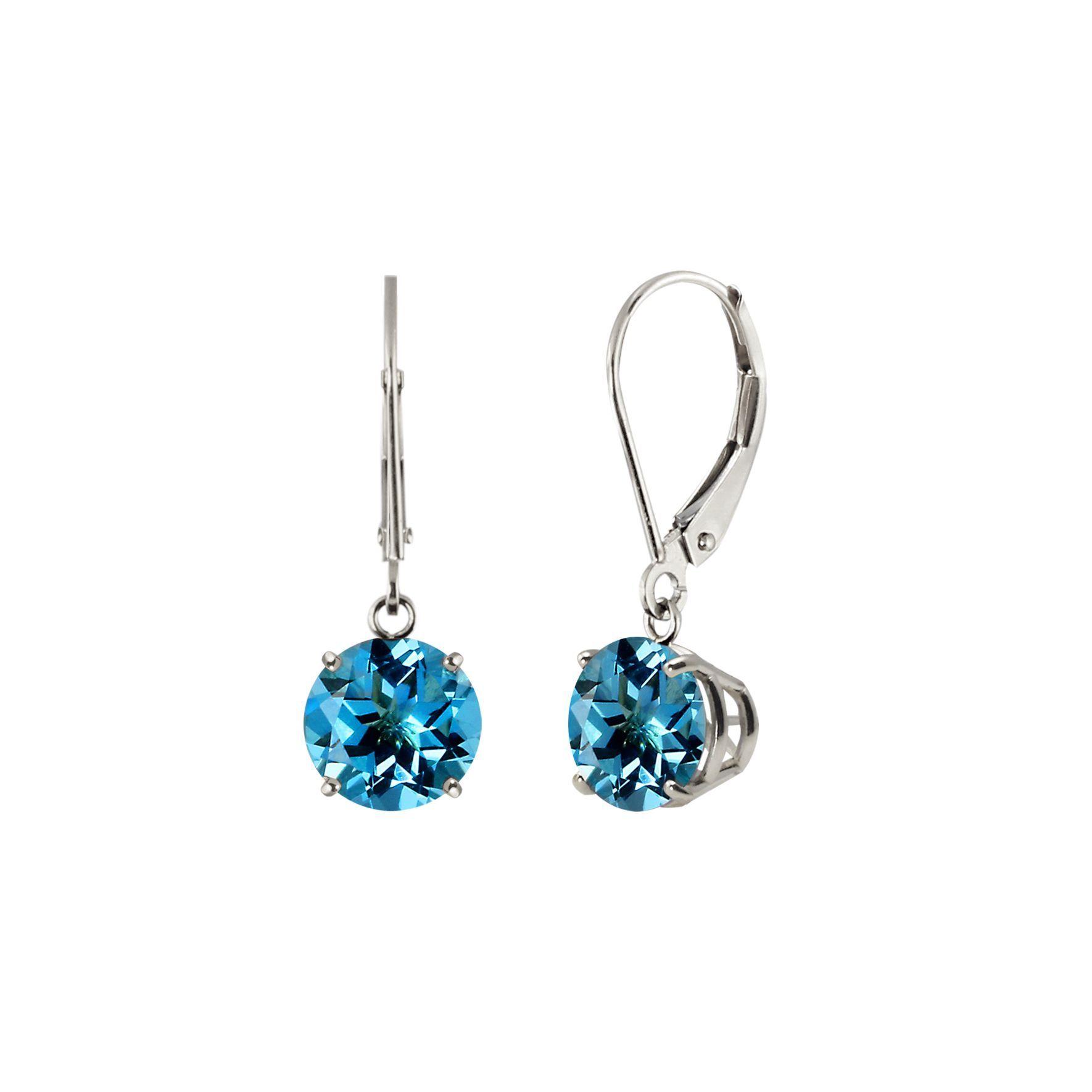 Sterling Silver 8mm Round Swiss Blue Topaz Leverback Dangling Earrings (Swiss Blue Topaz), Women's, Size: Medium