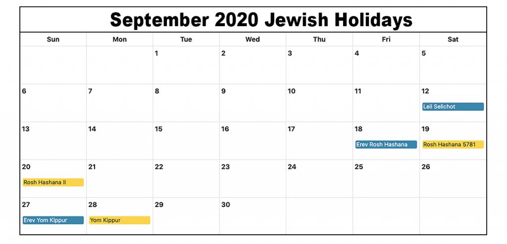 Jewish Holidays September 2020 Calendar September