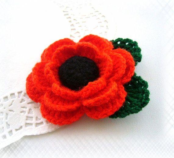 Crochet Poppy - Remembrance Day Brooch - Red Poppy Flower - Corsage ...