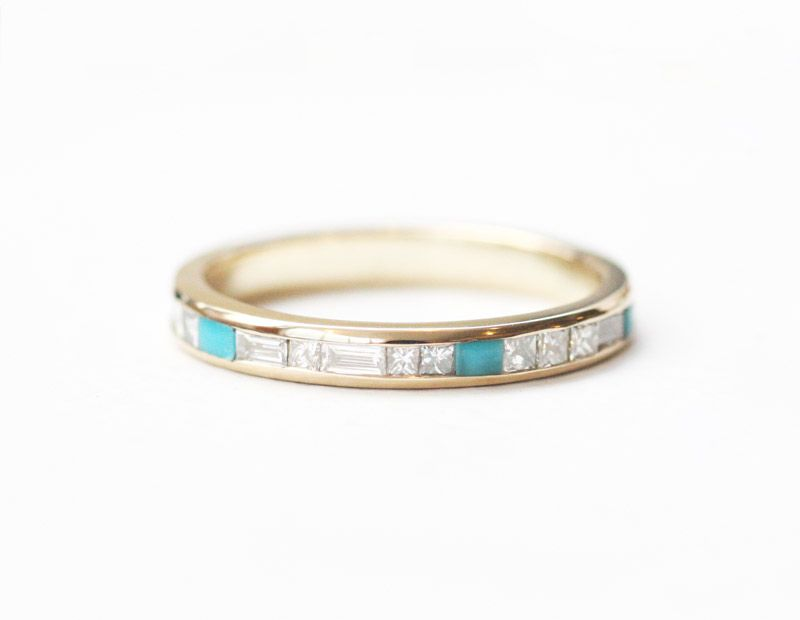 Diamond Bands Custom Turquoise Ring By Mociun