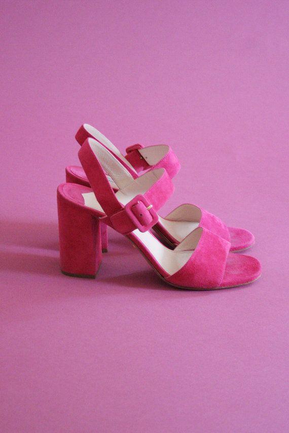 e78f8f1507d PRADA magenta suede sandals   high block heel   uk 5 us 7.5 de 38 ...